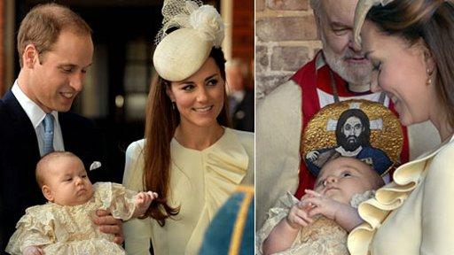威廉与凯特夫妇携乔治小王子参加受洗仪式