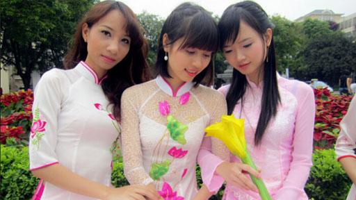 穿旗袍的越南美女