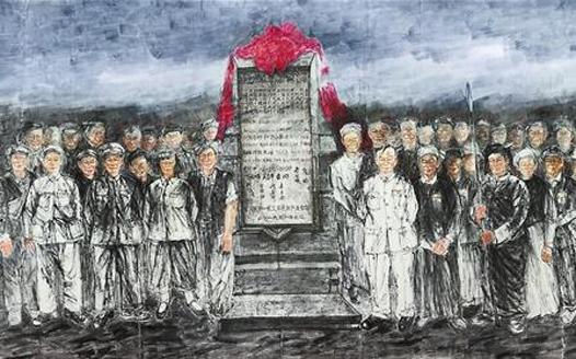 大型国画《各族人民跟党走》在昆亮相